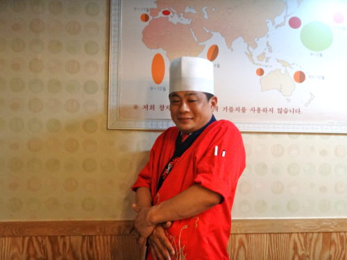 Chef at a sushi restaurant